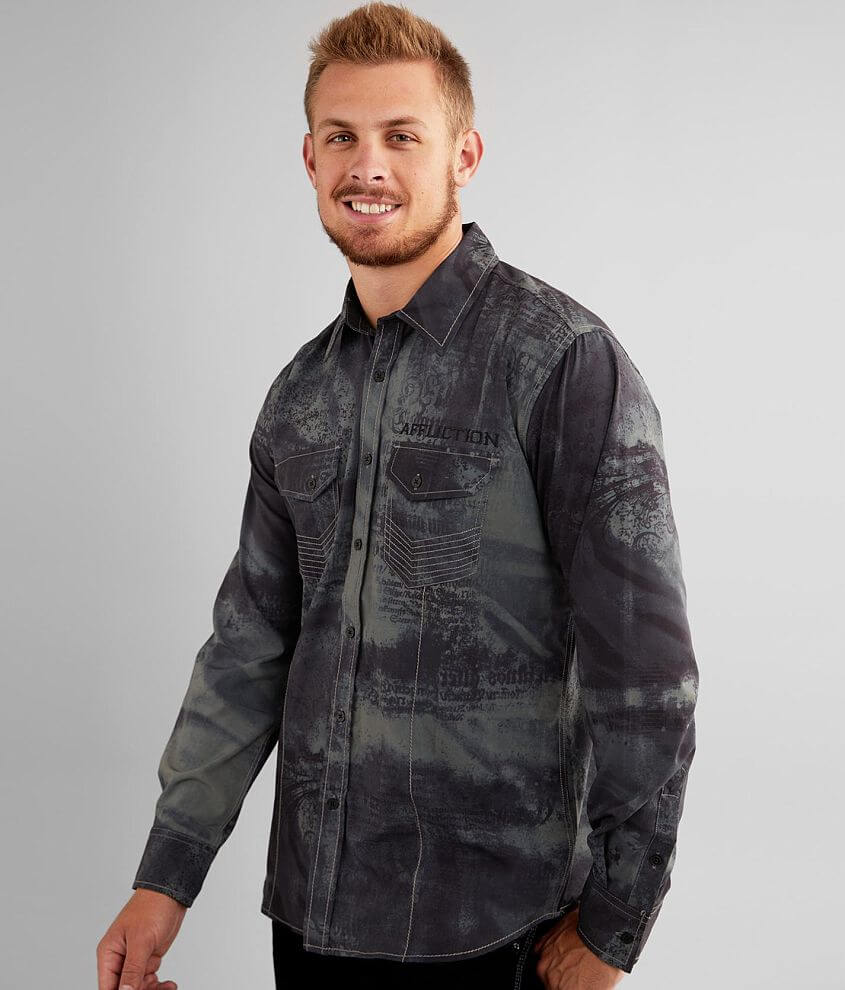Affliction American Customs Traction Stretch Shirt front view