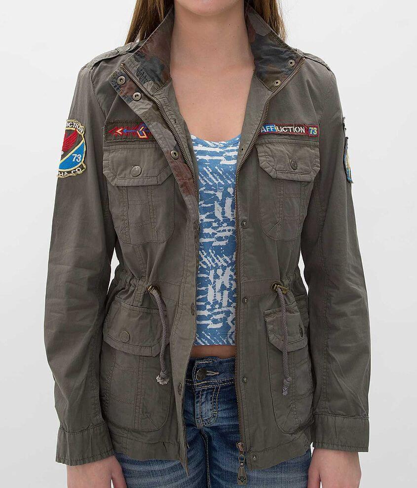 Affliction Black Premium Combat Twill Jacket front view