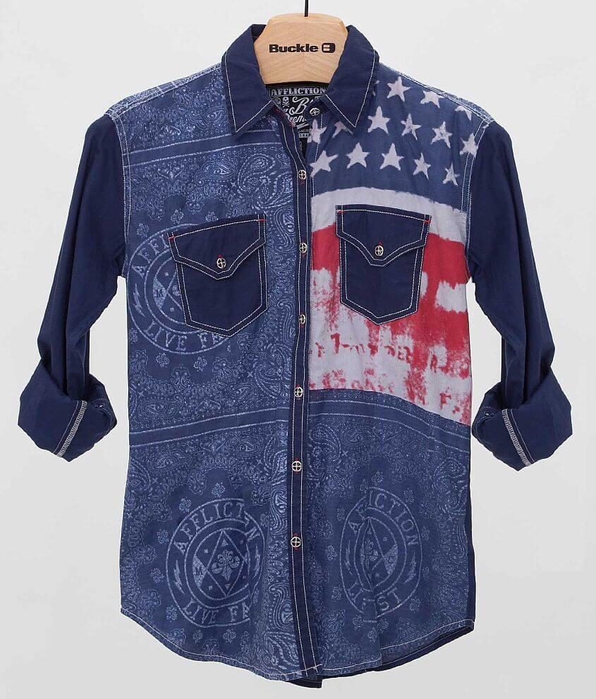 Affliction Black Premium Patriotic Shirt front view