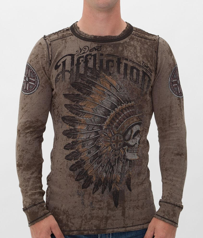 Affliction Peace Pipe Reversible Thermal Shirt front view