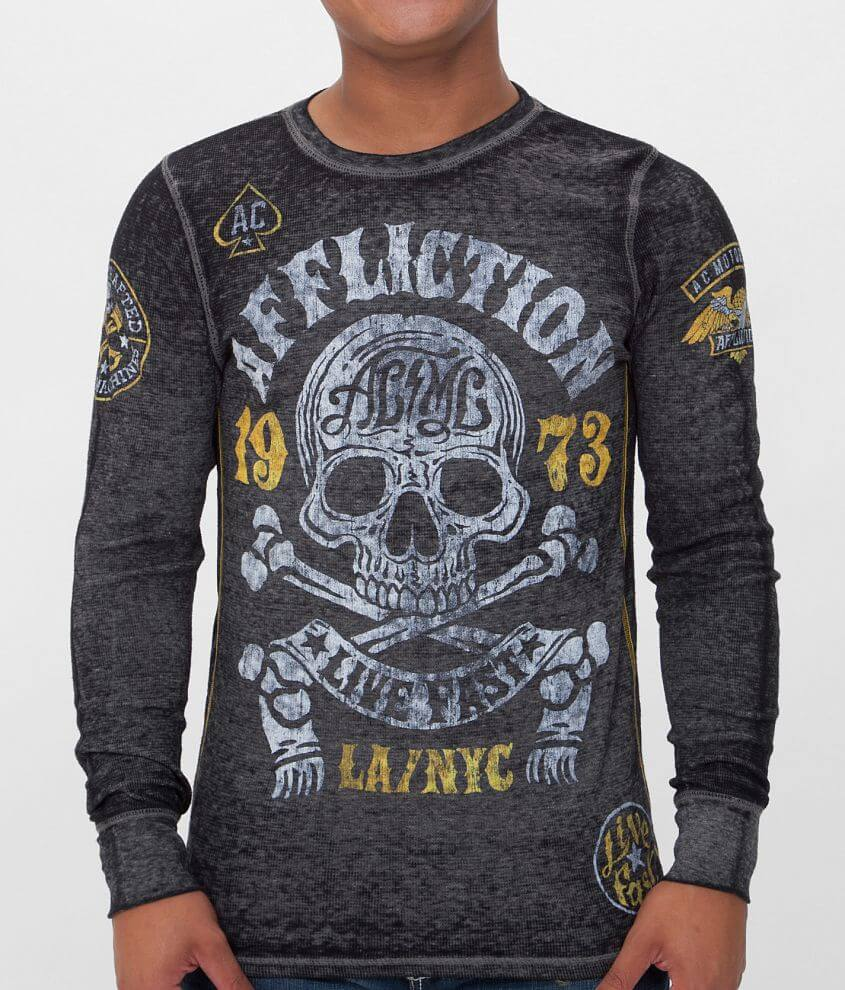 Affliction American Customs Skull Thermal Shirt front view