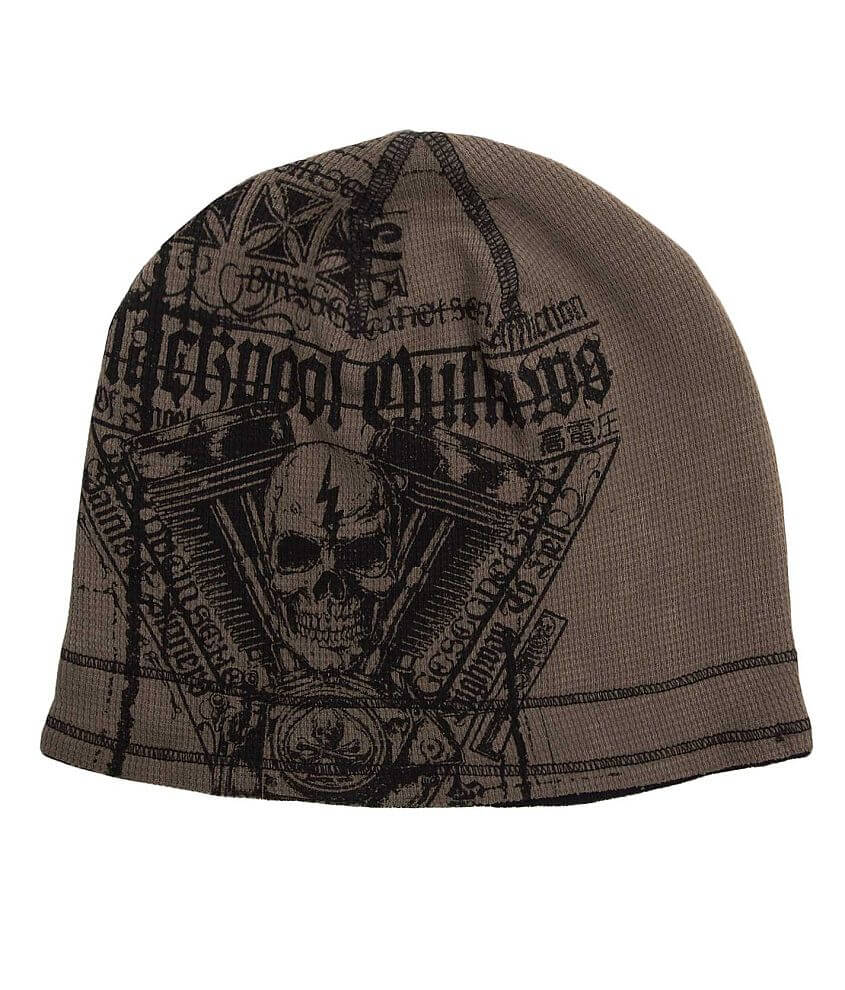 Affliction Black Pool Reversible Beanie front view