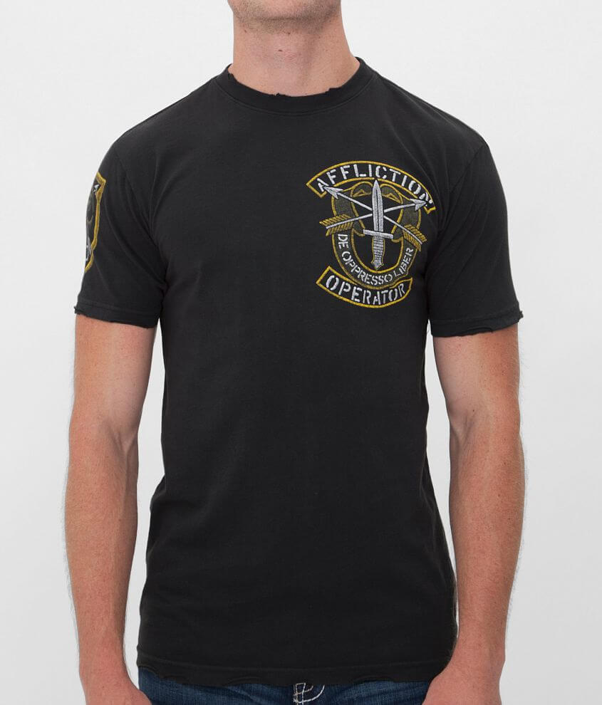 Affliction Operator Speed Green Beret T-Shirt front view