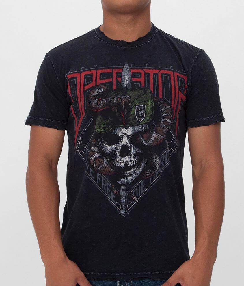 Affliction Snake Eater Green Beret T-Shirt front view