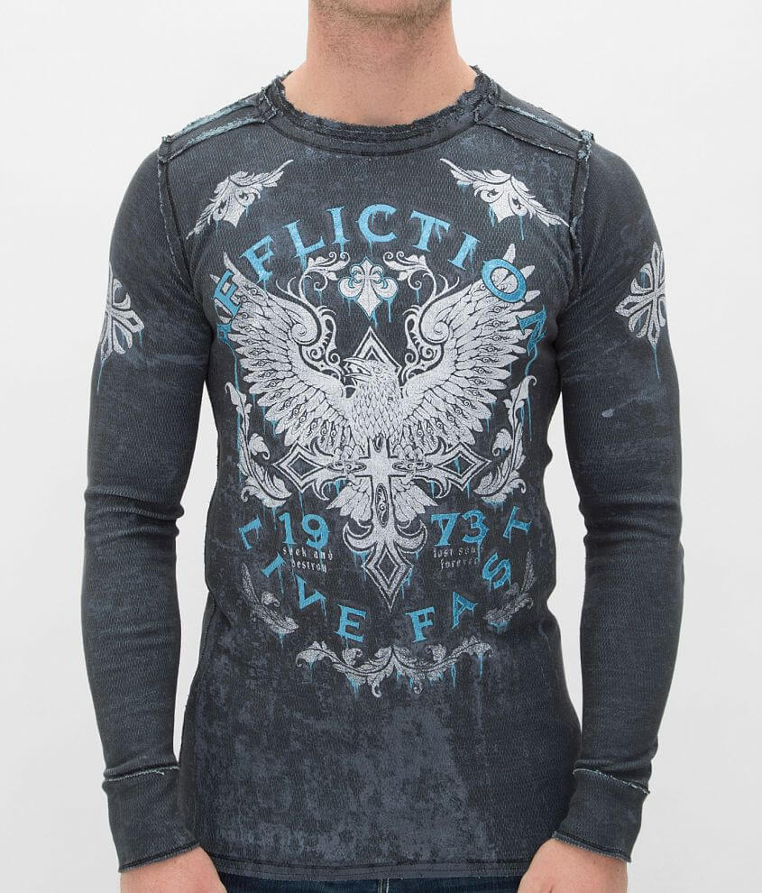 Affliction Discovery Rust Reversible Thermal Shirt front view