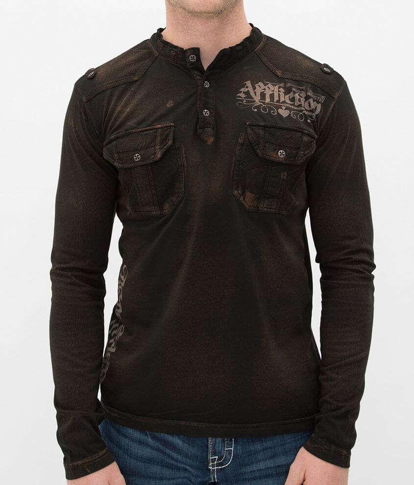 Affliction Souls of Black Henley front view
