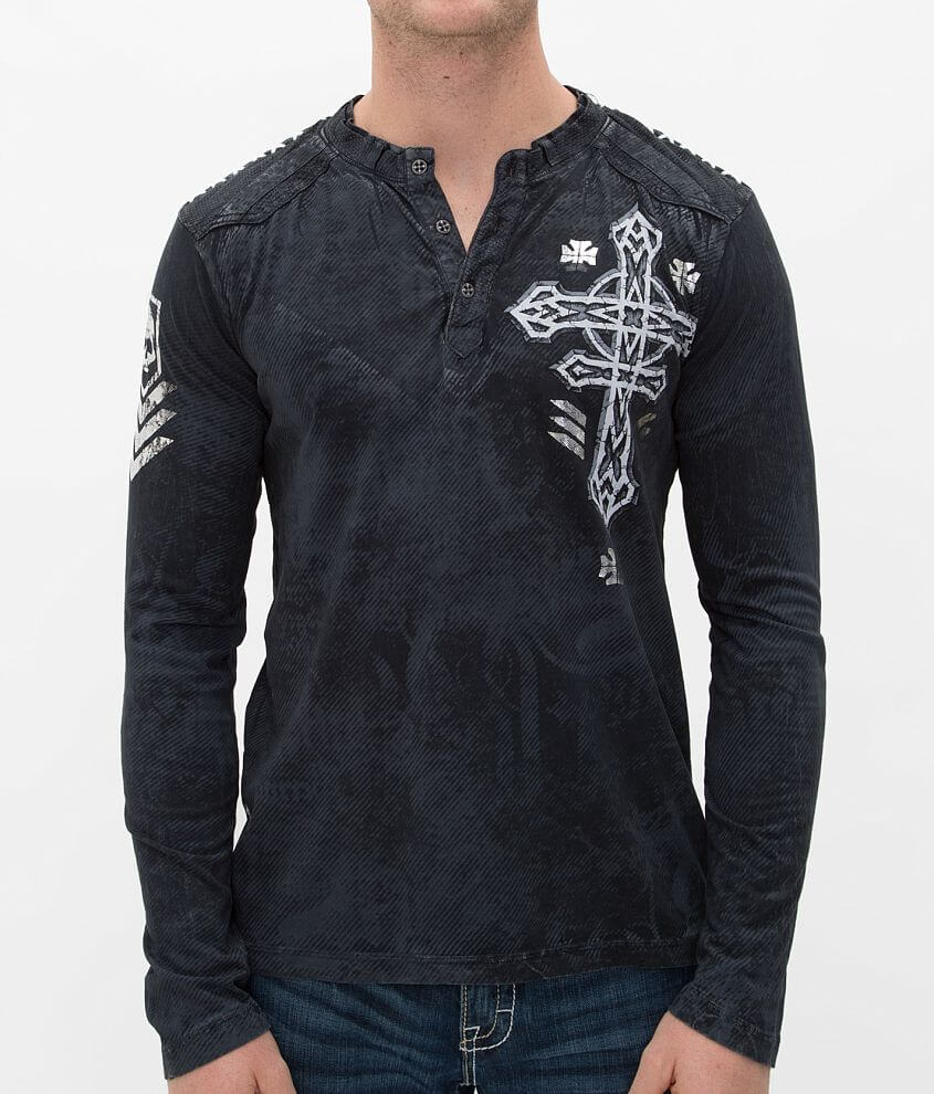 Affliction Tronic Black Henley front view
