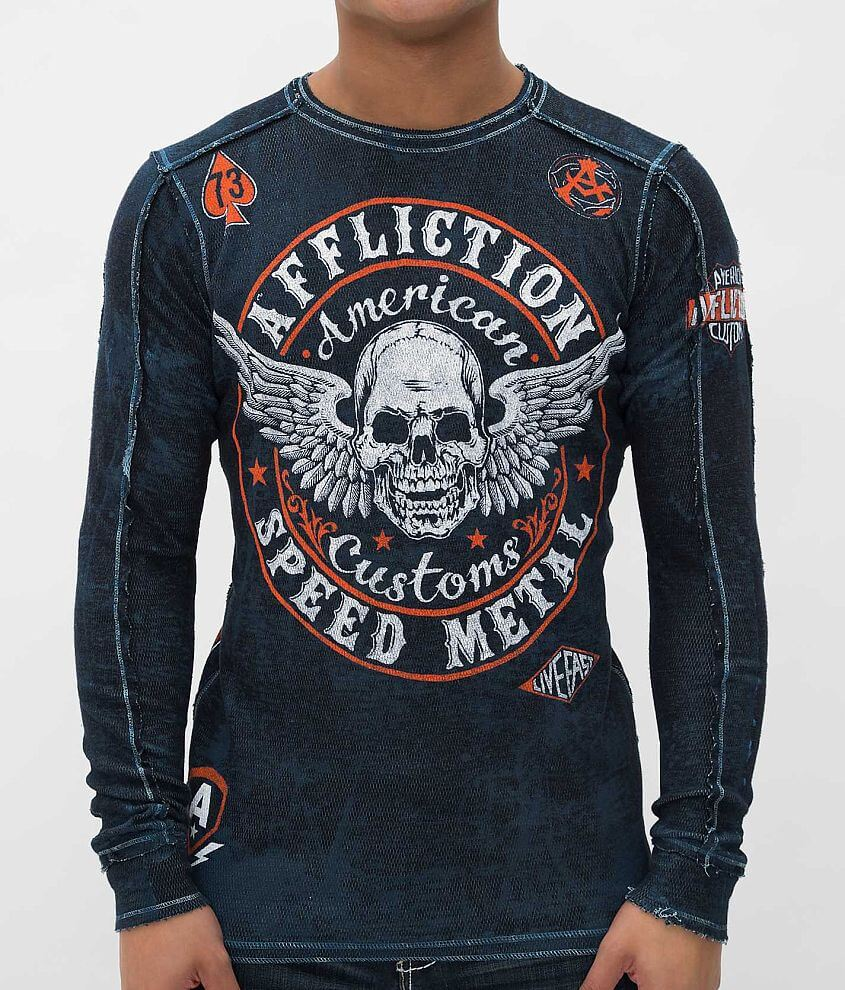 Affliction Syndicate Reversible Thermal Shirt front view