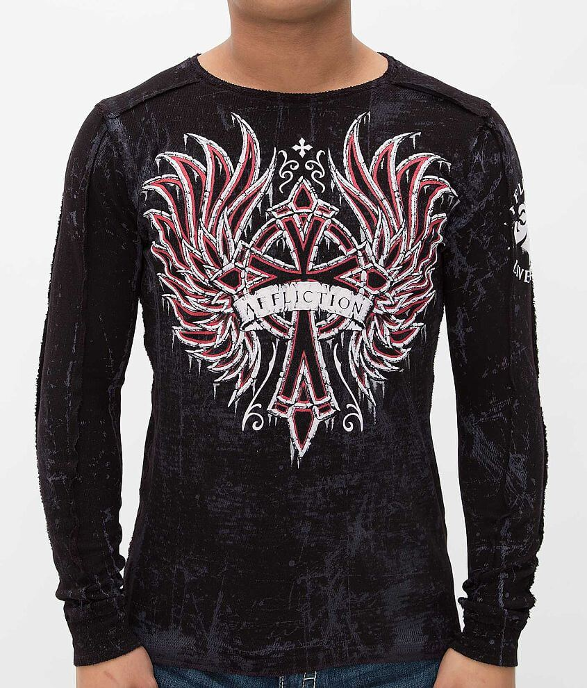 Affliction Chromatic Rust Reversible Thermal Shirt front view