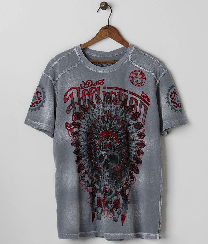 Affliction American Customs Skull T-Shirt front view