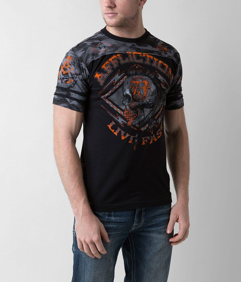 Affliction American Customs Warpath Panel T-Shirt front view