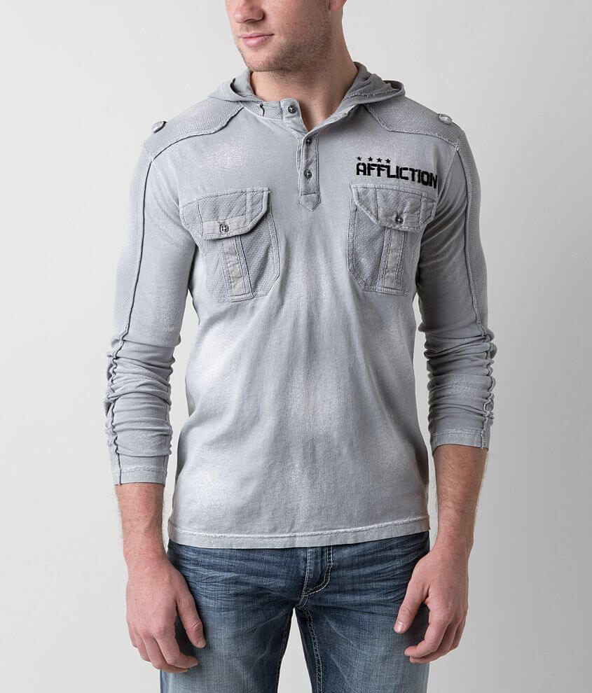 Affliction Coaxial Henley Hoodie front view