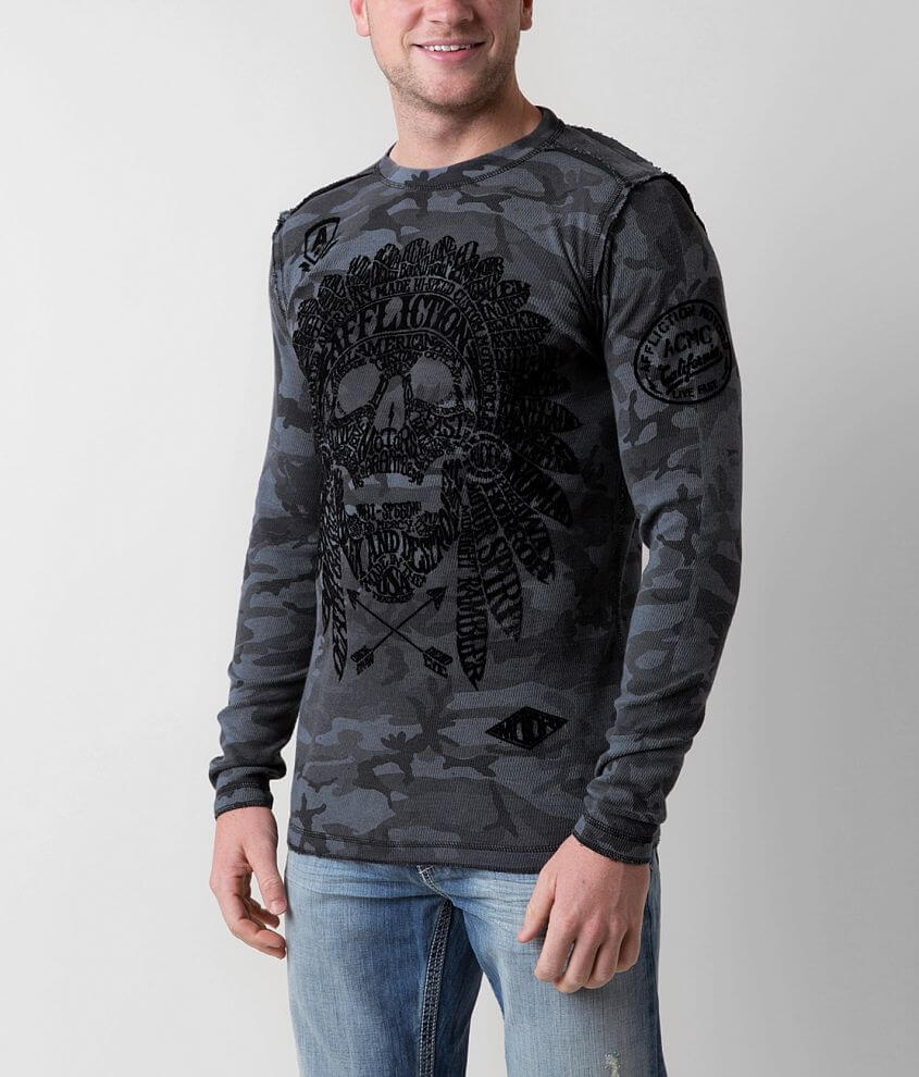 Affliction Worldskull Reversible Thermal Shirt front view