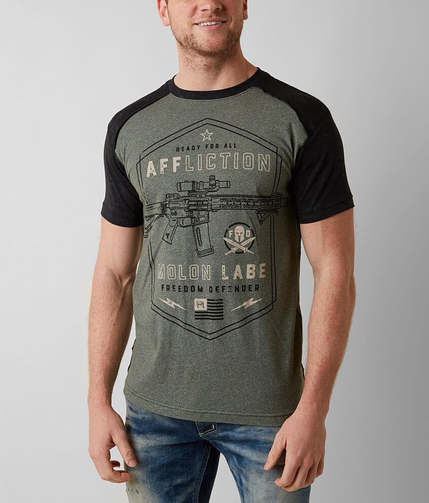 Affliction Freedom Defender Molon T-Shirt front view