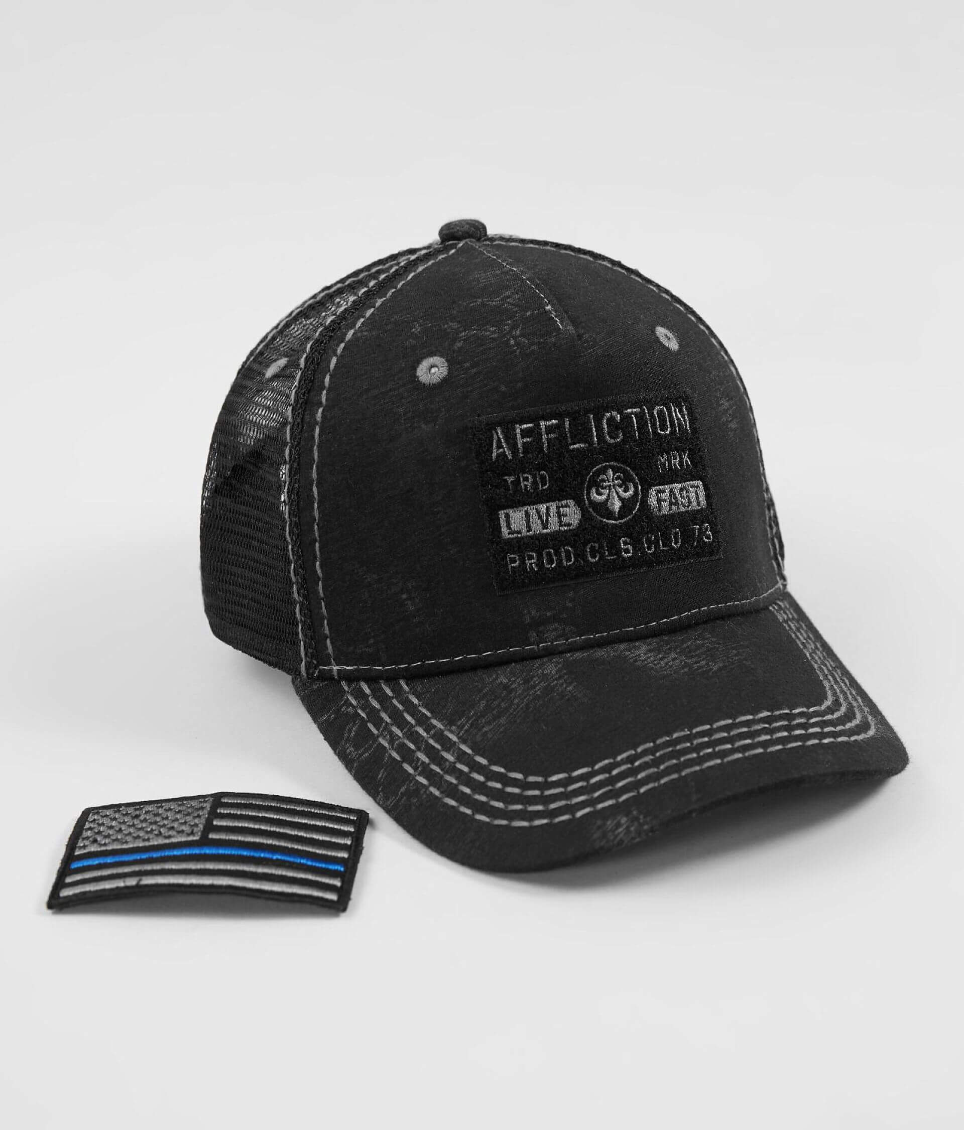 2d092380 Affliction A.4.Good Police Trucker Hat - Men's Hats in Black | Buckle