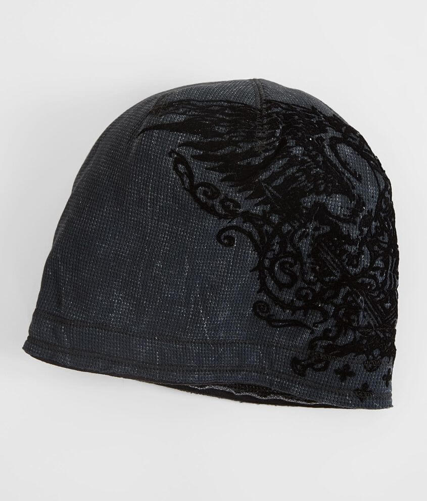 Style A18710/Sku 945752 Flocked graphic reversible beanie Logo patch on reverse Raw edge details One size fits most
