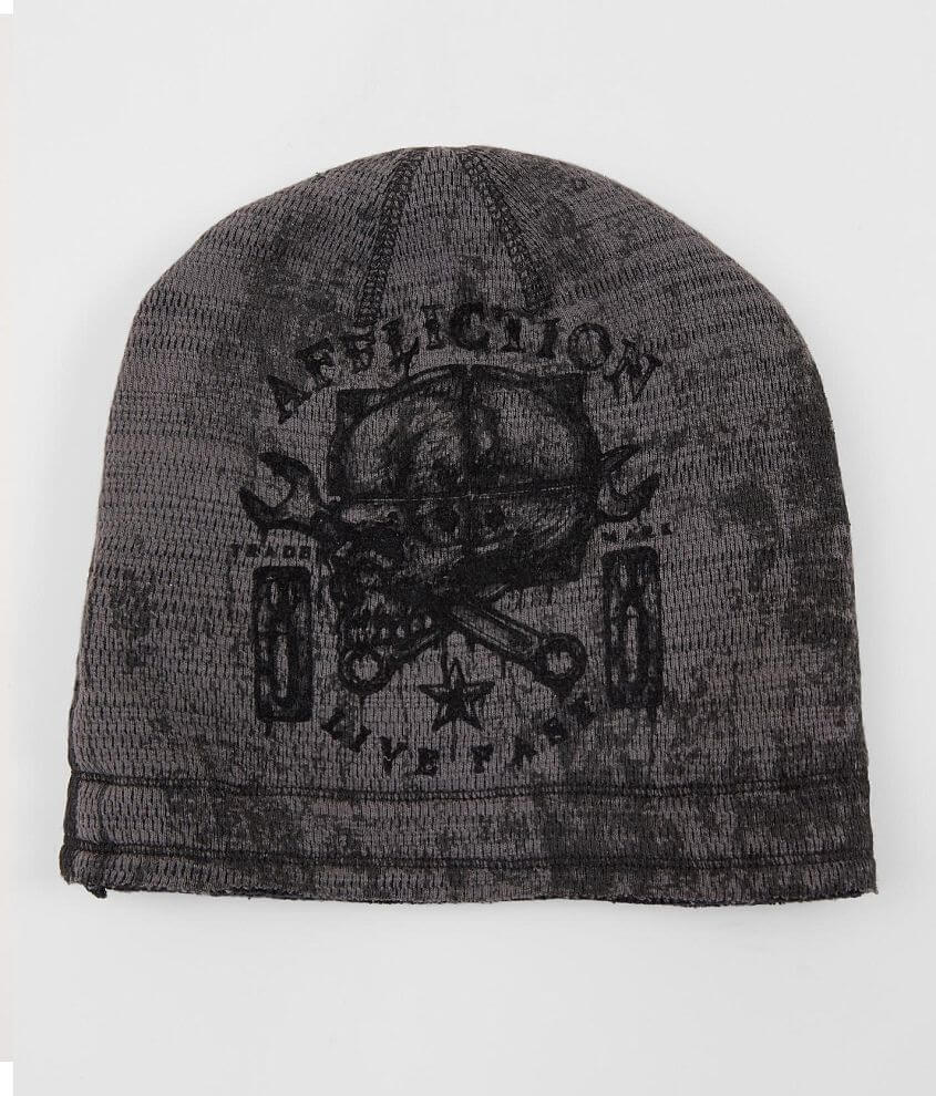 Style A20711/Sku 948836 Graphic washed thermal beanie Logo patch on reverse One size fits most Raw edge details