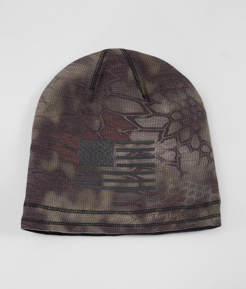 Chris Kyle Frog Foundation Graphic printed knit beanie Graphic patch on solid reverse Raw edge details KRYPTEK® camo print One size fits most