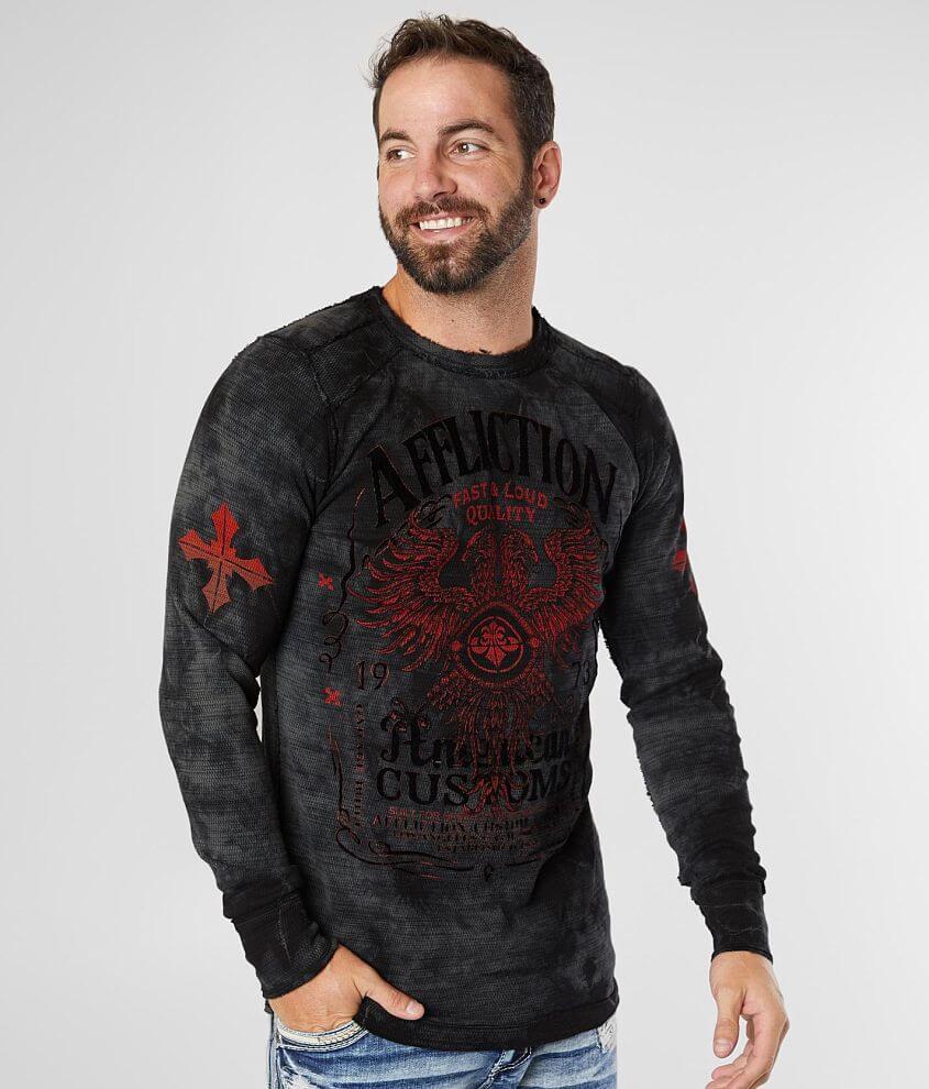Affliction Mens Long Sleeve Reversible Thermal Shirt