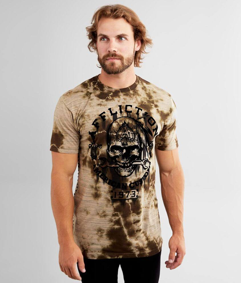 Affliction American Customs Iron Grease T-Shirt front view