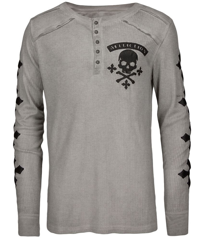 Affliction Speed Kills Henley Thermal front view