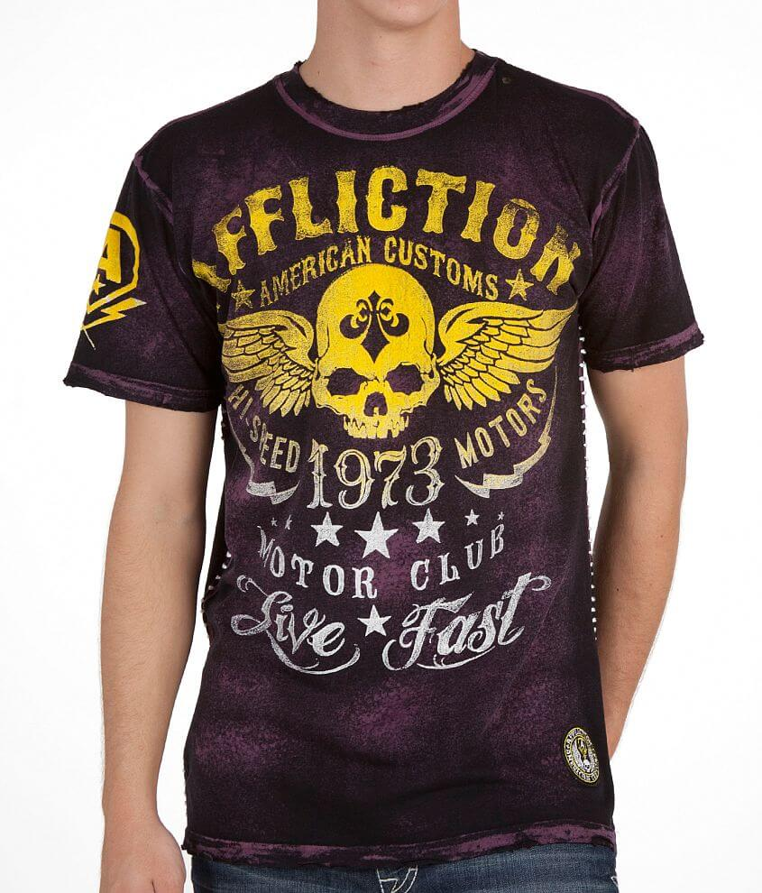 Affliction American Customs Faded Iron T-Shirt front view
