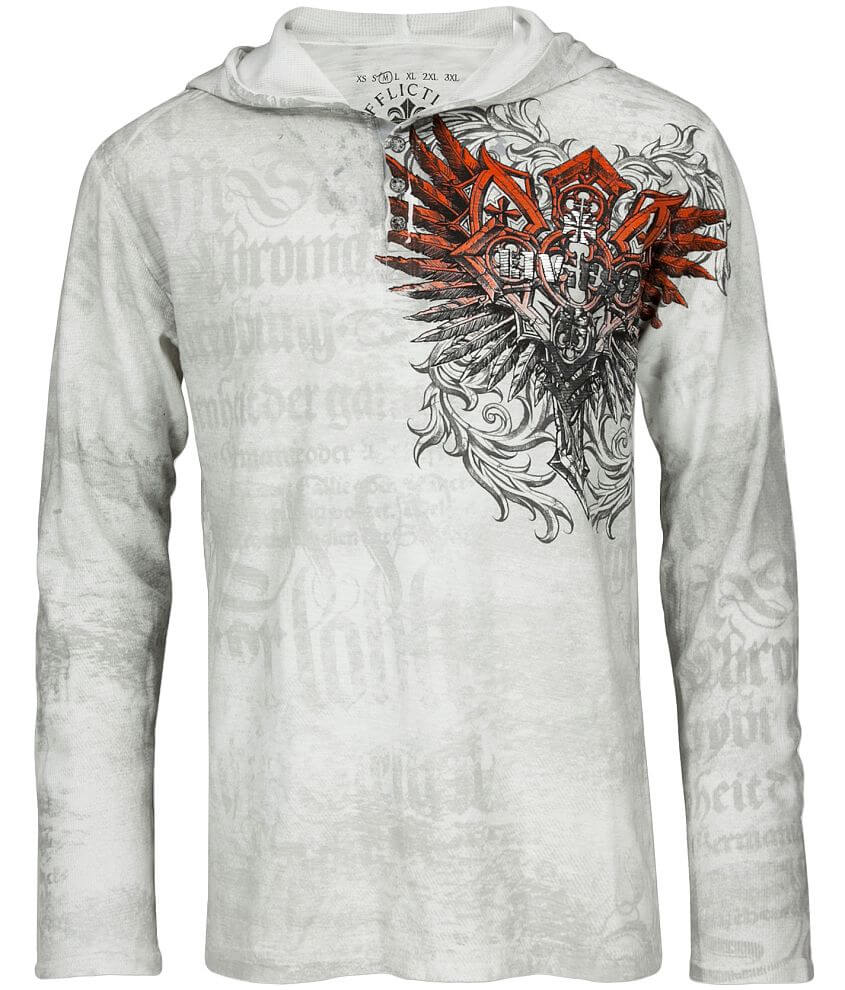Affliction Triptych Hooded Henley front view