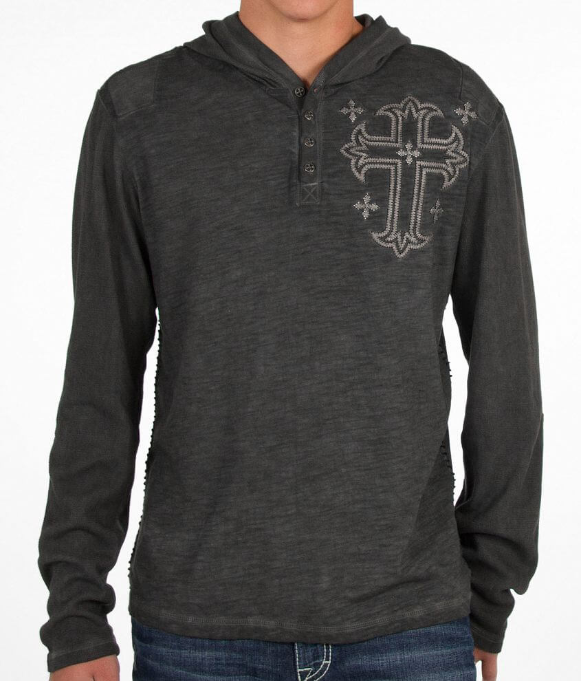 Affliction Render Hooded Henley front view