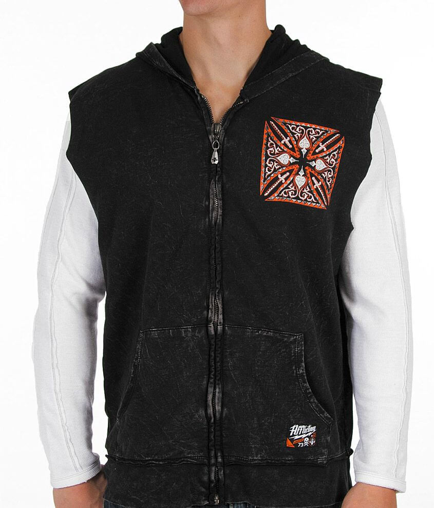 Affliction Death Cross Cut-Off Hoodie front view