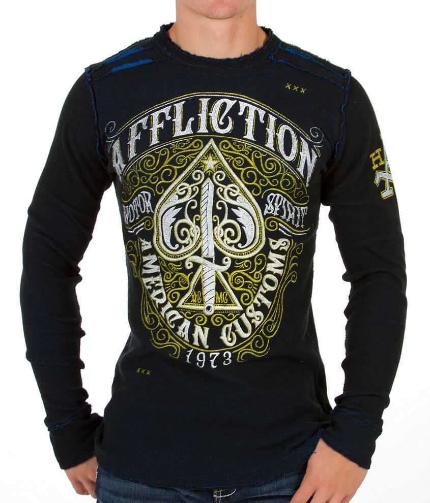 Affliction Death Spade Reversible Thermal Shirt front view