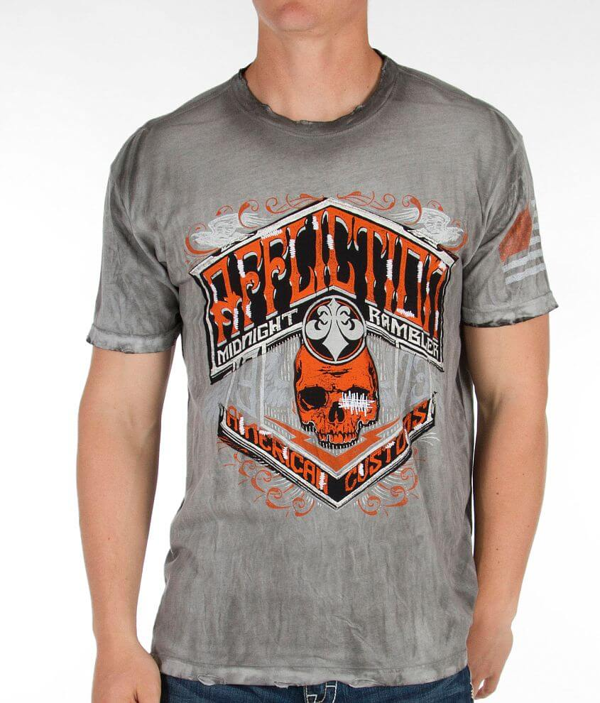 Affliction American Customs Black Gold T-Shirt front view