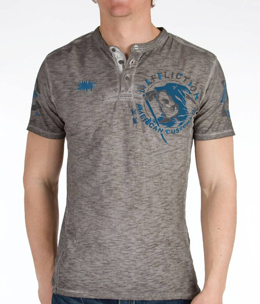 Affliction Faster Than Death Henley front view