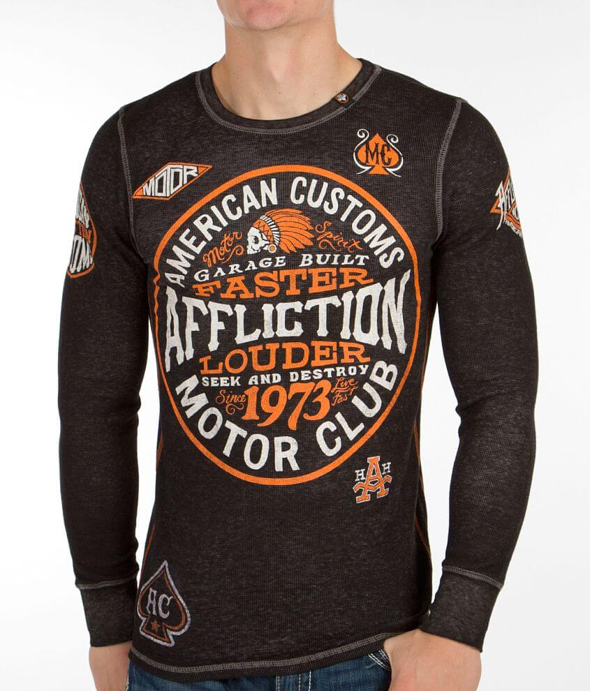 Affliction American Customs Petrol Thermal Shirt front view