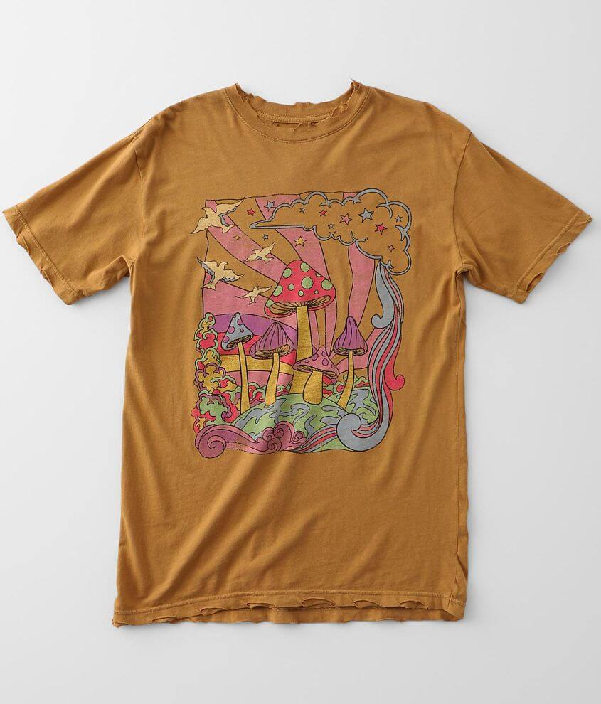 American Highway Mushroom Pyschedelic T-Shirt front view