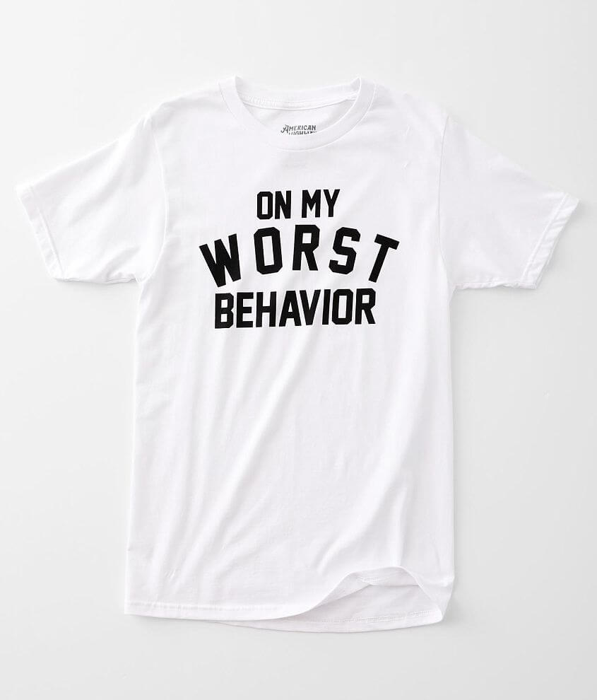 American Highway On My Worst Behavior T-Shirt front view
