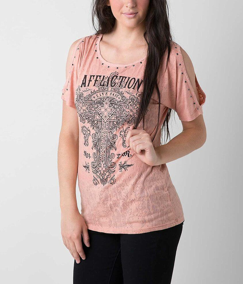 Affliction Olive T-Shirt front view