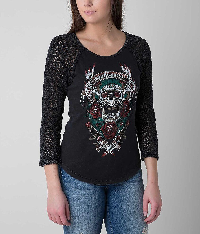 Affliction Screamin Roses Top front view