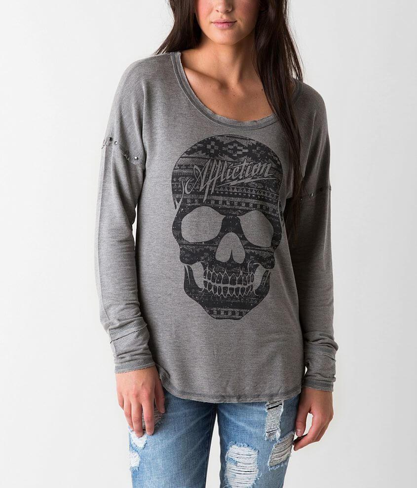 Affliction Black Premium Skull Sweatshirt front view