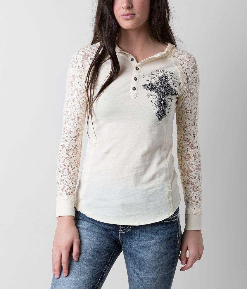 Affliction Paradigm Henley Hoodie front view