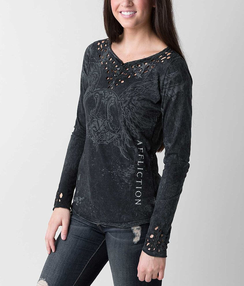 Affliction Romanesque Henley Top front view