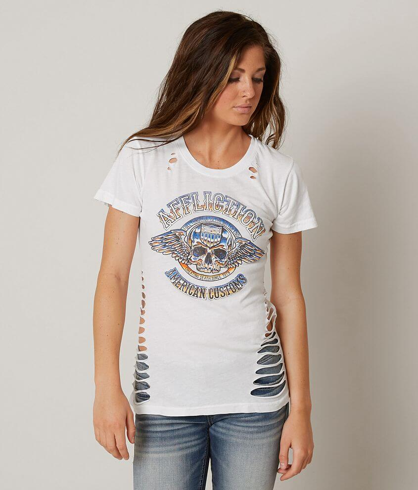 Affliction American Customs Brass Knuckles T-Shirt front view