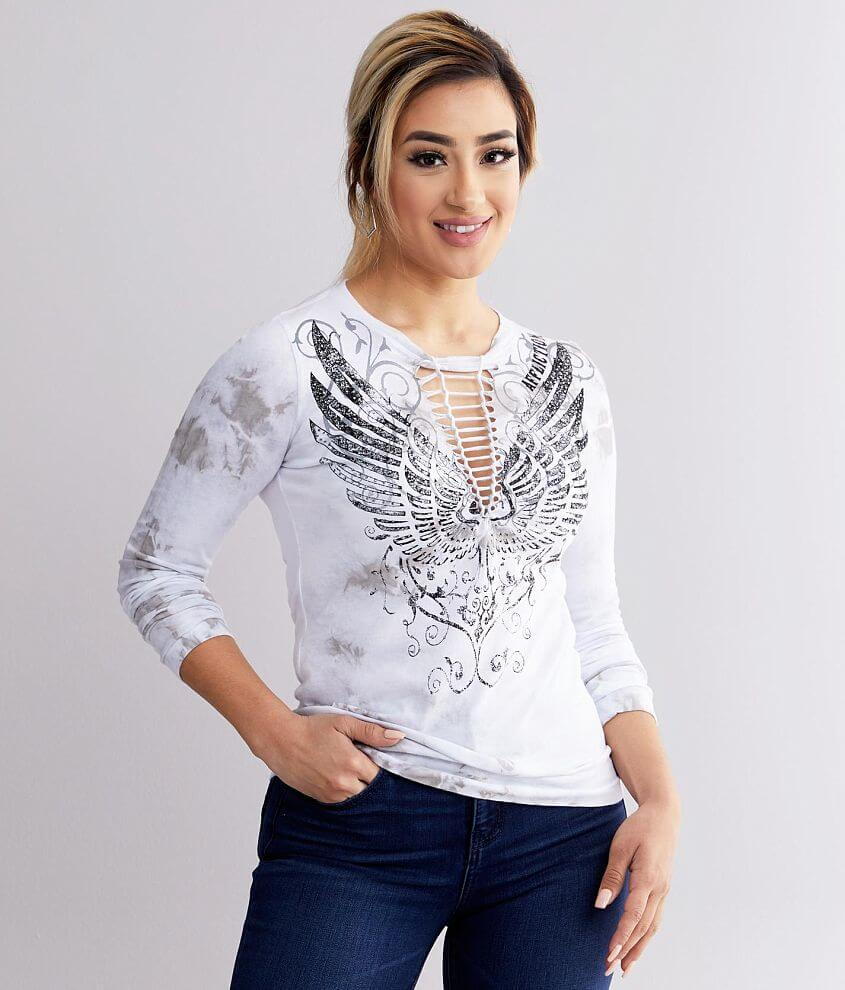Affliction Stamped Wings T-Shirt front view
