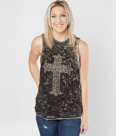 Affliction Golden Studded Muscle Tank Top