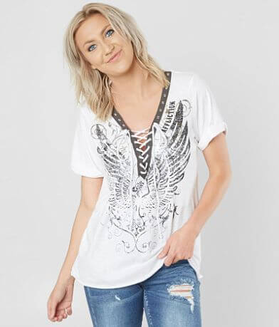 Affliction Stamped Wings Top