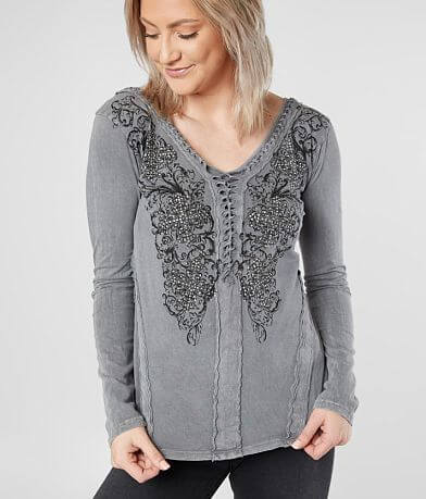 Affliction Coleford Ranch Double V-Neck Top