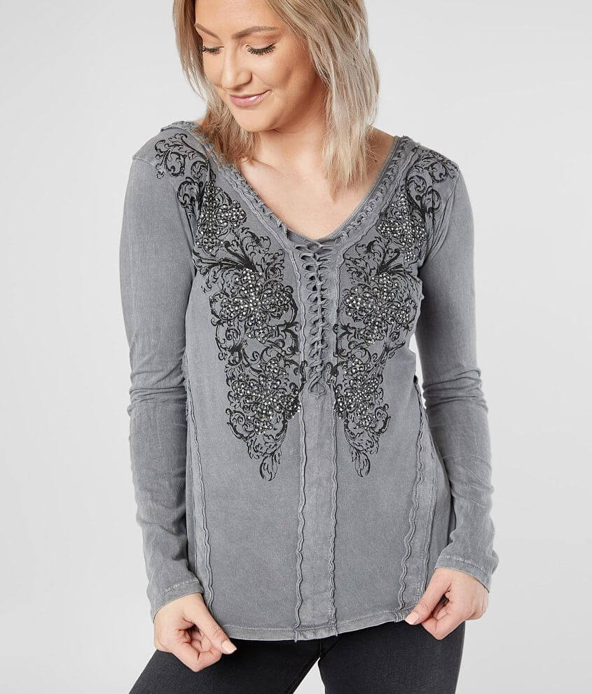 Affliction Coleford Ranch Double V-Neck Top front view