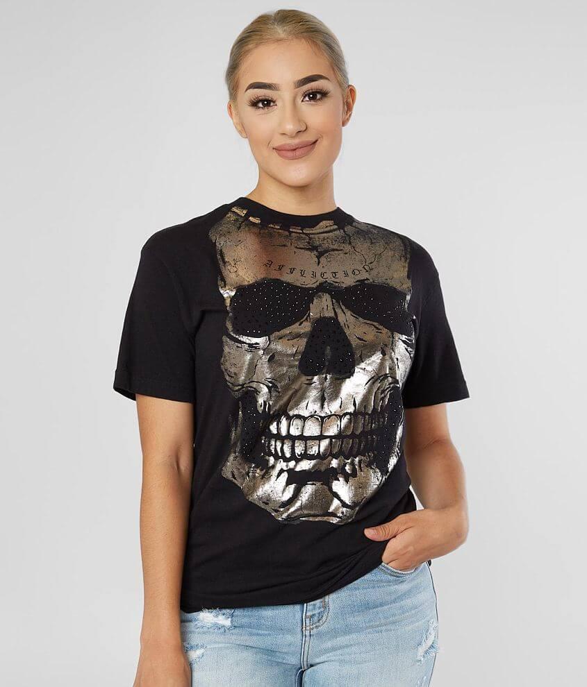 Affliction Skull Diamonds T-Shirt front view