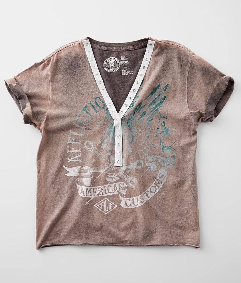 Affliction American Customs Turkey Henley T-Shirt front view