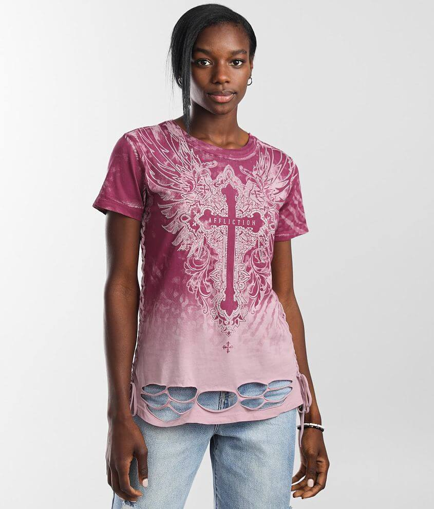 Affliction Sacred Wish Wings T-Shirt front view