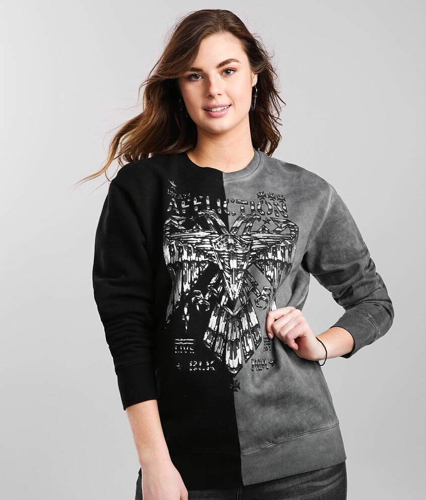 Affliction Silent Eagle Chrome Pullover front view